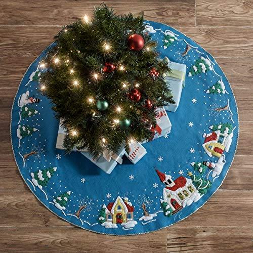 Plaid PE89076E Bucilla Christmas Village Seasonal Felt Tree Skirt Kit, 89076E