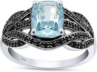AFFY 1.91CT Rectangular Cushion Glacier Topaz With 0.28CTW Round Black Spinel Cluster Engagement Ring In 14k White Gold Pl...