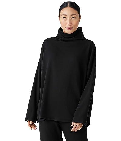 Eileen Fisher High Funnel Neck Box Sweatshirt in Tencel Organic Cotton Fleece