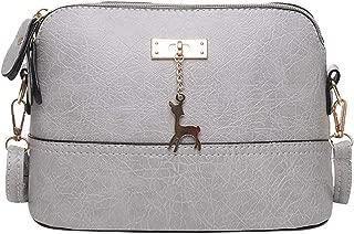 Waymine Women'ss Pleated Shoulder Bag Crossbody Bag Fawn Pendant Shell Square Messenger Bag Handbag Phone Coin Packet