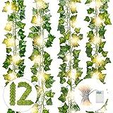 DazSpirit Plantas Hiedra Artificial, con luces de cadena de 10m 100led, 12 Piezas Hojas de Hiedra Guirnalda , 84 Ft Guirnalda Hiedra Artificial, De Jardín, Valla, Hogar, Boda, Escalera para Decoración