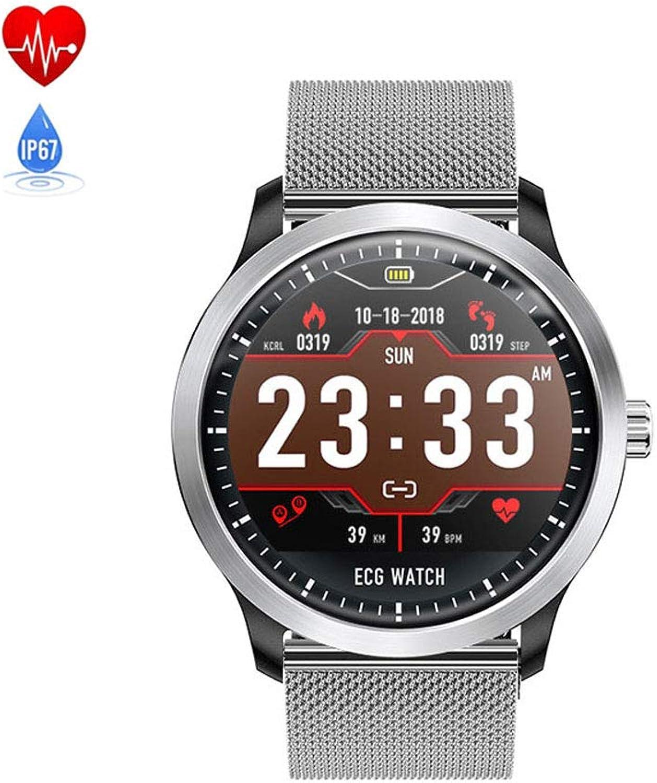 SUNSUNNY Fitness-Tracker, Aktivitt Blautdruck-Tracker lesen Herzfrequenz Fitness Wasserdichte Schlafüberwachung Schrittzhler iOS Android,Silber