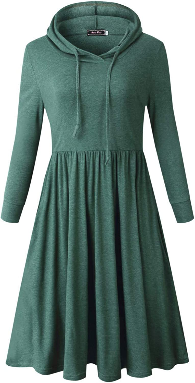 MARI CIAS Pockets Sweatshirt Pleated Dress for Women Long Sleeve (M, Army Green)