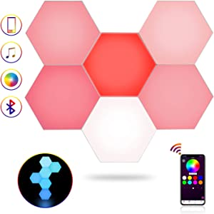 Laxre Hexagon Lights, APP Control LED Hexagon Wall Light, Creative Smart LED lamp, DIY Geometric Modula Light, Bright Colorful Switch, Suitable for Bedroom,Living Room,Home Decoration