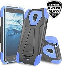 Alcatel Verso Case, Alcatel idealXCITE Case, Alcatel CameoX Case, Alcatel Raven LT Case, TJS [Tempered Glass Screen Protector] Shock Absorbing Phone Cover Kickstand Silicone Inner Layer (Blue/Black)