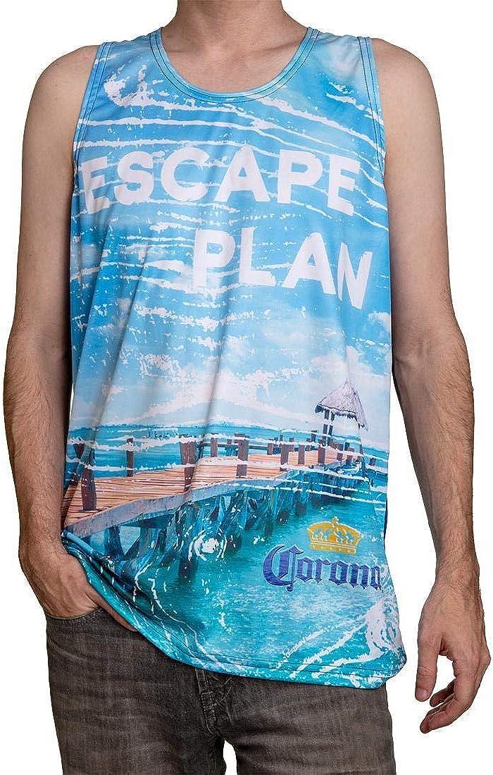 Corona Extra Tropical Island Mens Rash Guard Tank Top