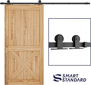 SMARTSTANDARD Top Mount Sliding Barn Hardware Kit, Black, 8ft Single Rail, Super Smoothly and Quietly, Simple and Easy to Install, Fit 42