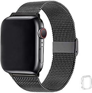 WFEAGL コンパチブル apple watch バンド, コンパチブルiWatch通用ベルト apple watch series 6/5/4/3/2/1, SE に対応 交換ベルトステンレス製 (42mm 44mm, ブラック)