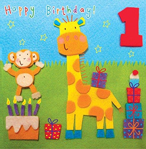 Twizler Geburtstagskarte zum 1. Geburtstag, für Kinder, mit Giraffe und Affe
