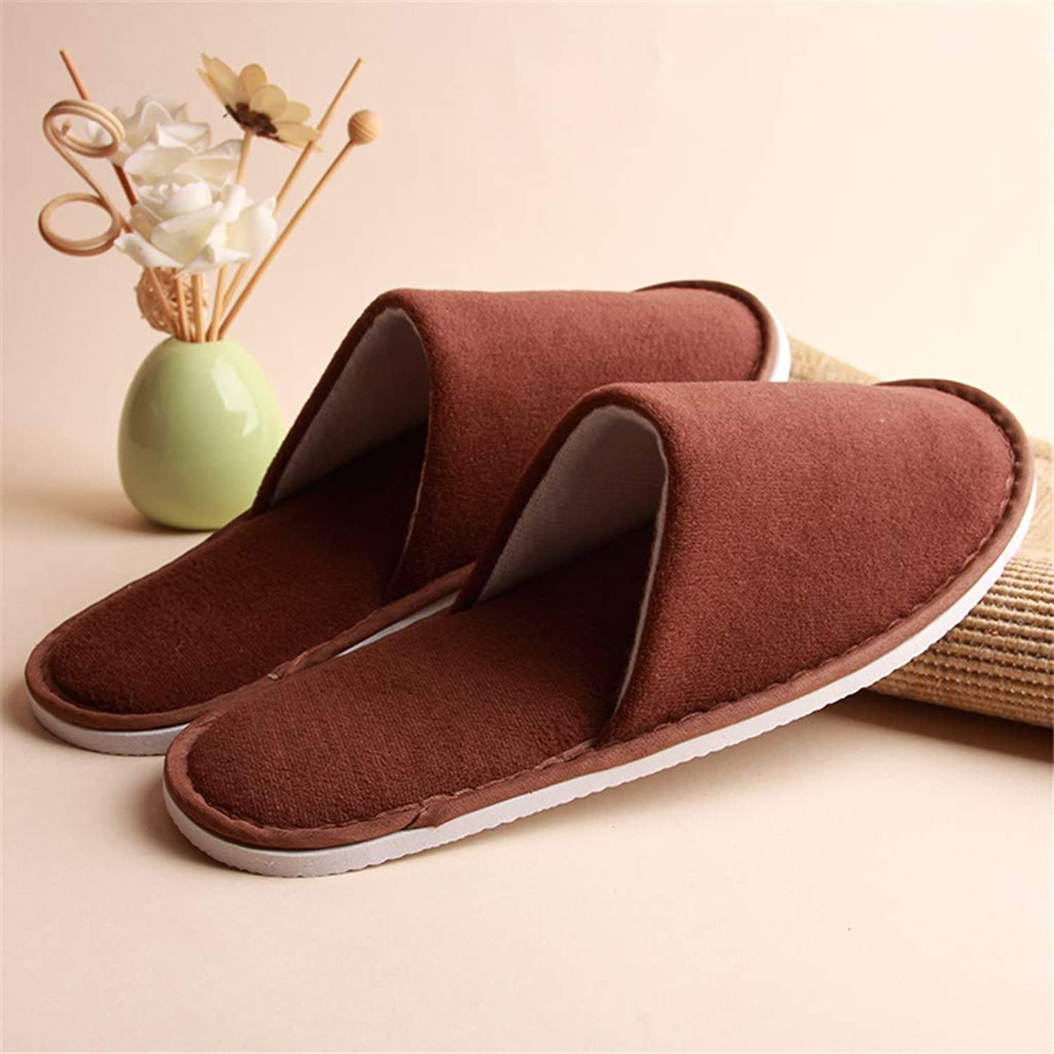 10 Pairs of Unisex Multicolor Fluffy Closed Toe Spa Slippers - One Size Fit Most Men and Women, Comfortable and Non-Slip - Perfect for Home, Hotel Or Commercial Use,Brown
