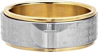INOX Jewelry Womens Stainless Steel Lord's Prayer Spinner Ring