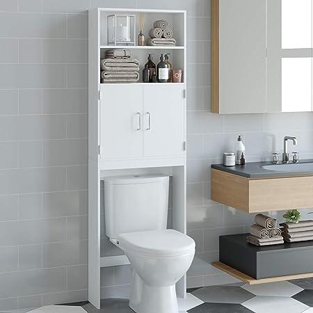 HOMECHO Meuble Dessus Toilette WC Rangement, avec 2 Portes et 2 Étagères, Meuble Dessus Machine à Laver, Armoire de Rangement pour Salle de Bain, en Bois, 60 x 20 x 195 cm