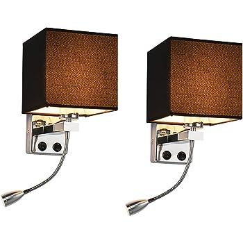 l/ámpara de pared con luz suave de lectura 2 en 1 con luz de lectura LED flexible para el dormitorio de la sala de estar 1 luz con USB OurLeeme L/ámpara de pared para mesita de noche