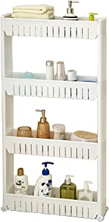 Tosnail 4-Tiers Slim Slide Out Storage Tower - Great for Kitchen, Bathroom Home Organizer - Updated