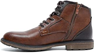 Mid Top Men's Oxfords Boots, Lace-Up And Zipper Motorcycle Ankle Dress Shoes