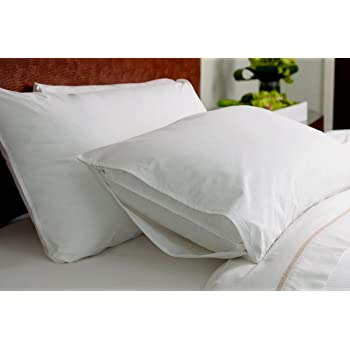 Linen Affairs Pillowcase Pillow Protectors Zippered - Dust Mite, Bacteria, Allergy Control - Waterproof Encasement - Bed Bug Proof (White, 17 x 27 Inch)