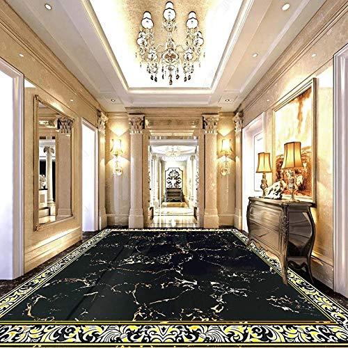 Personalizado 3d pegatina suelo Moderno, negro, dorado, mármol, azulejos, papel tapiz, sala de estar, comedor, hotel, suelo 3D, mural, PVC, autoadhesivo, adhesivo para piso-150 * 105cm