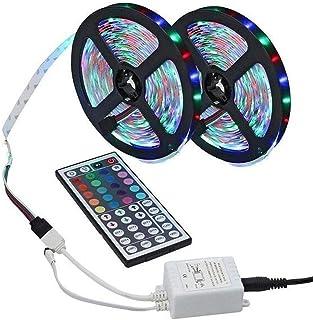 LED Strip Lights, 10M (5Mx2) 300LEDs 16RGB kleur veranderende ontmoette 44-Toetsen-RF Afstandsbediening, IP65 waterdicht 1...
