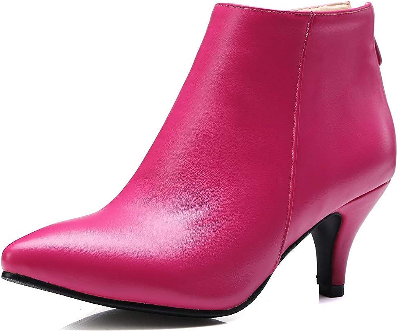 Lelehwhge Women's Classic Pointed Toe Booties Kitten Heel Back Zipper Ankle Boots Hot Pink 8 M US