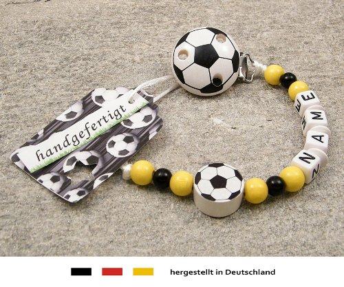kleinerStorch Baby SCHNULLERKETTE mit Namen - Motiv Fussball in Vereinsfarben - schwarz, gelb