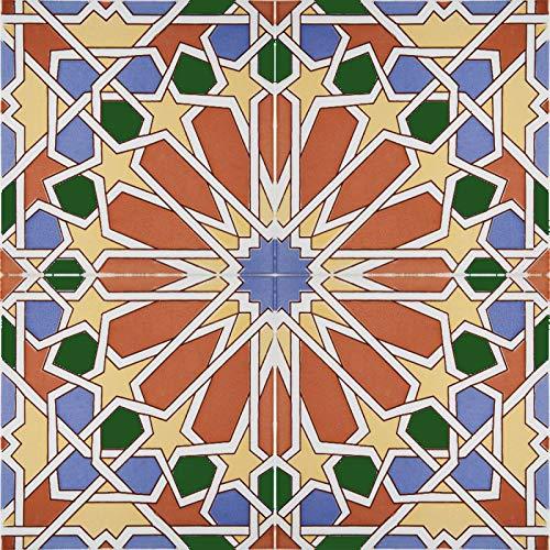 Cerames- Eman, Marokkanische Keramikfliesen - 22 orientalische tunesische Dekorfliesen (0,5 m2) 15x15 cm für das Badezimmer, die Küche, unter der Treppe. Farbige dekorative Fliesen.