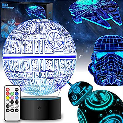 Star Wars Gifts 3D Lamp - Star Wars Toys 3D Night Light,4 Patterns and 7 Color Changing with Remote or Touching,Decorating Kids Bedroom(4 Packs-Bigger-Brighter)