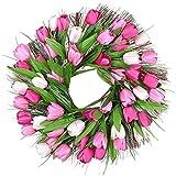 Vaorwne 18 Pouces Tulipe Guirlande Porte Printemps Brindille Guirlande Florale Fleur Artificielle Couronne Ornent avec des Tulipes Roses pour Porte D'EntréE Mur FenêTre FêTe Mariage DéCor