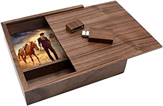 Ace one Walnut USB Flash Drive Memory Stick Thumb Drive with Large Walnut Photo Storage Print Box Hold 4x6 Photographs(up to 100 Novelty and Romantic Gift for Birthday Wedding or Other Festival (8GB)