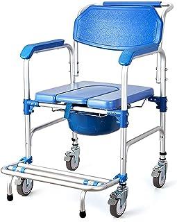 Douchestoel/Nachtkastje/Rolstoel Beklede Toiletbril Douche Transportstoel met Armen, Wielen en Pedaal, 4 in 1 Draagbare Al...