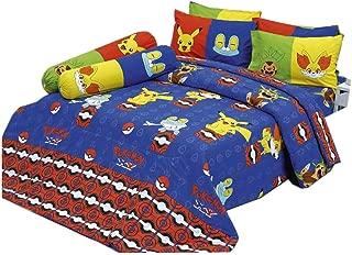 Pikachu Fennekin Chespin Froakie Blue Bedding Set, 1 Fitted Sheet, 2 Pillow Case, 2 Bolster Case, 1 Comforter Set B+1 (Blue 514, Queen 60