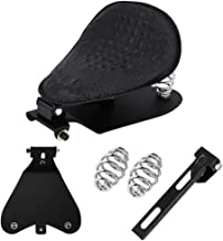 Motorcycle Alligator Black Leather Driver Solo Seat with Base Plate Spring Mounting Brackets Kit for Harley Davidson Sportster XL 1200 883 48 Chopper Bobber Cruiser Custom