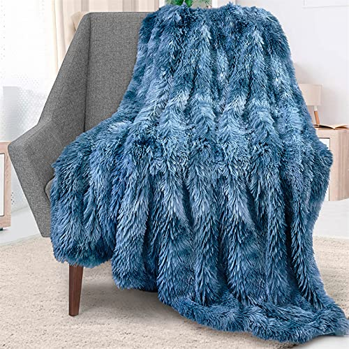 Blivener Batik-Überwurf, superweich, lang, zottelig, flauschig, Kunstfell, Decke, warm, gemütlich, Tagesdecke
