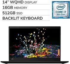 "Lenovo ThinkPad X1 Carbon Gen 7 2019 Premium 14"" WQHD Laptop Computer, Intel Core i7-8565U 1.80 GHz, 16GB RAM, 512GB SSD,Backlit Keyboard,Fingerprint Reader,Wi-Fi,Bluetooth,Webcam,HDMI, Win 10 Pro"
