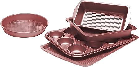 Bakeware Set, TOPTIER 6 Piece Nonstick Baking Pan Sets with Cookie Baking Sheets, Muffin Pan, Loaf Pan, Round Cake Pan, Ro...