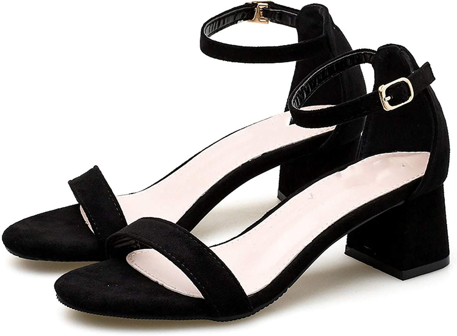Summer Hollow Women Sandals Casual Mid Thick Heel Ankle Strap Sandalias women Fashion Sandal Female Black Party shoes 42
