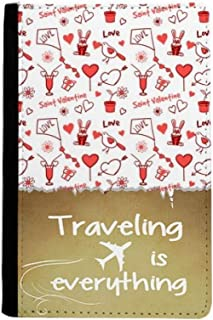 Red Saint Valentine Love Kite Rabbits Traveling quato Passport Holder Travel Wallet Cover Case Card Purse