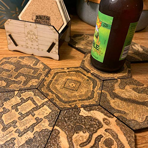 Novelstuffs DND Dungeon Drink Coasters with Holder Set of 12 Wooden Laser Engraved RPG Maps for Tabletop Game Player and DM