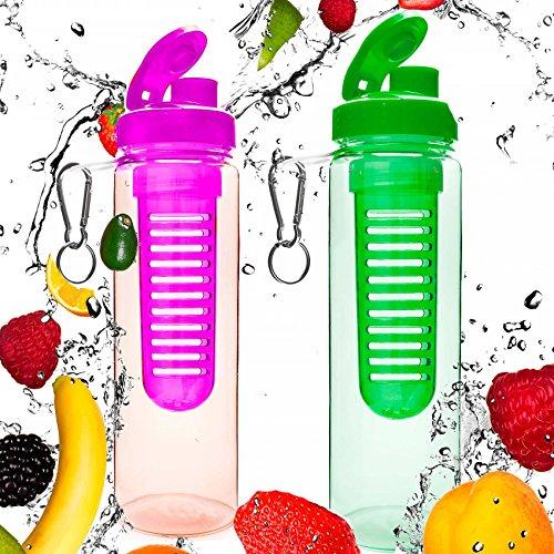 #DoYourFitness® Set de 2 Gourdes 700 ML »FruitInfusior« / idéale pour Tous Sportifs/Convient à Toute préparations à Base d'eau gazeuse de Fruits et légumes/Couleur : Rose/Vert
