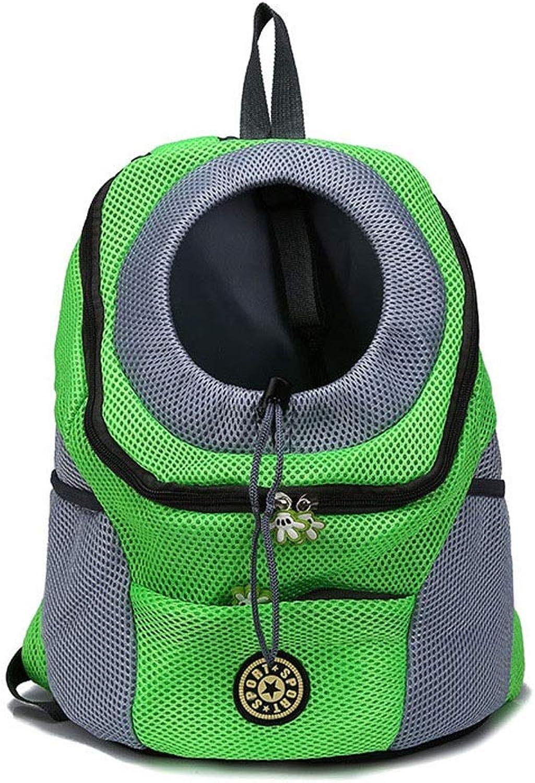 BLRYP Pet Backpack Outdoor Pet Dog Carrier Bag Pet Dog Front Bag New Out Double Shoulder Portable Travel Backpack Mesh Backpack Head Walking,Travel,Hiking,Camping (color   Green, Size   S)