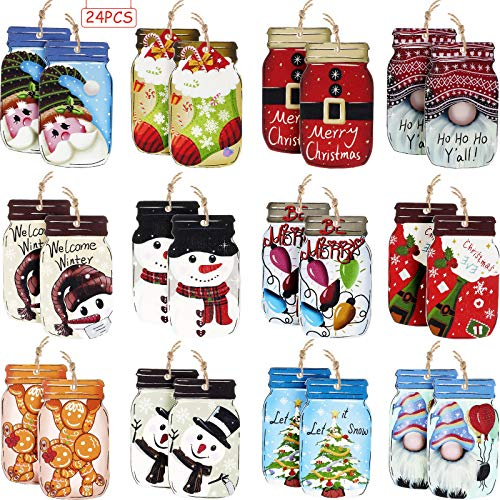 Jetec 24 Pieces Christmas Tree Ornaments Wooden Mason Jar Shaped Wood Christmas Hanging Slices Pendants Embellishments Tags for Tree Wall Party Decoration
