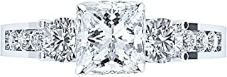 1.75 Ctw 14K White Gold Channel Set 3 Three Stone GIA Certified Princess Cut Diamond Engagement Ring (1 Ct Center D-E Color VS1-VS2 Clarity)