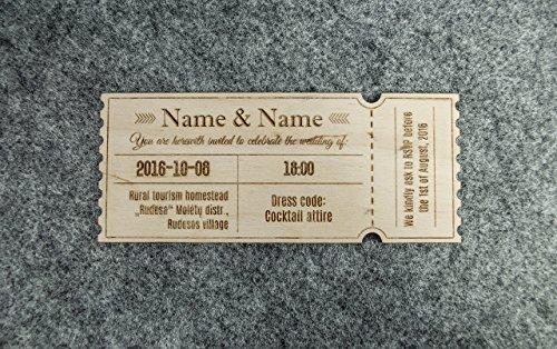 Hölzerne Hochzeitseinladungen 20 Stück – hölzerne gravierte Hochzeitseinladungen – individuelle hölzerne Einladungen – Hochzeits-Dekor – rustikale Hochzeitseinladungen