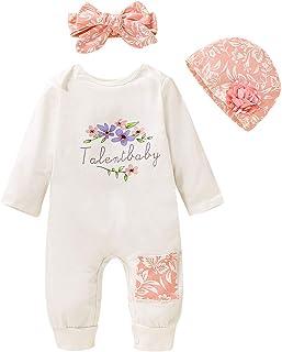 T TALENTBABY Langarm-Strampler f¨¹r Neugeborene mit Blumenmuster  Blumenm¨¹TZE  Kleidungsset mit Schleifenstirnband