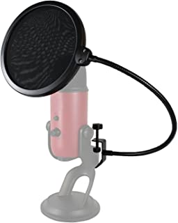 HDE 6 Inch Pop Filter Shield Studio Microphone Wind Screen with Stand Clip for Blue Yeti Microphones and USB Condenser Mics (Black)