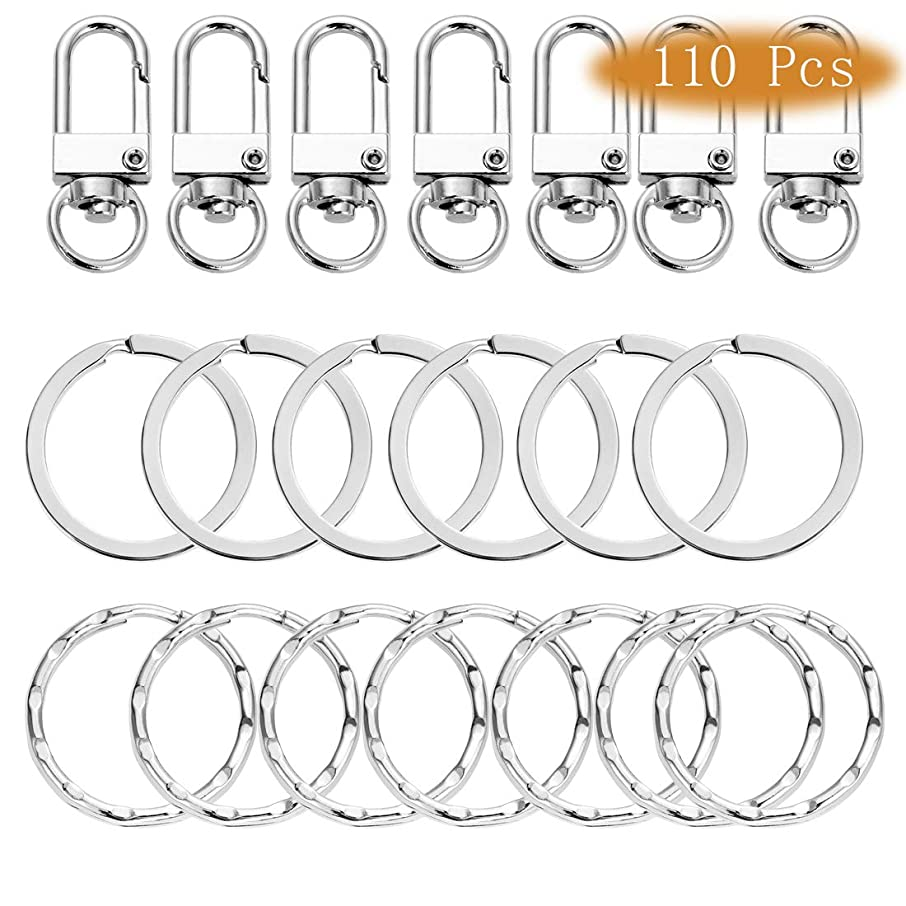 Pantinue 110Pcs Keychain Bulk with Key Chain Swivel Hook O Rings Hardware Craft (Silver)