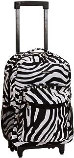 キッズブラックホワイトゼブラパターンRollingバックパック、美しいAfricanテーマダッフル、エキゾチックジャングル動物園サファリ印刷スーツケース、子供用スクールバッグ、Duffel withホイール、Wheeling Luggage、軽量ファッショナブル