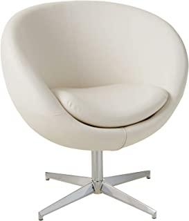 Best Selling Modern Leather Round Back Chair, White