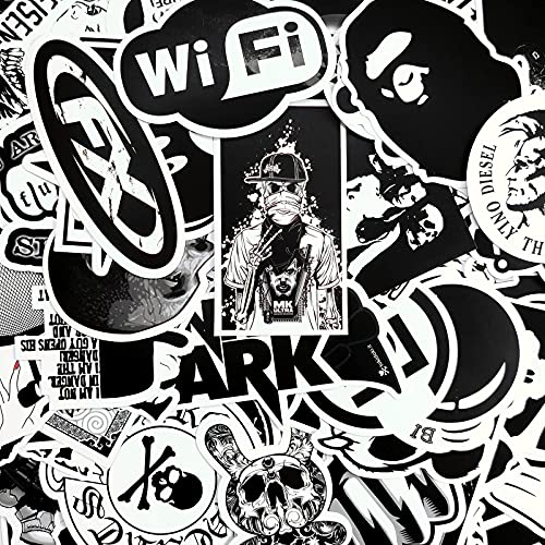AhaSky Stickers, Black & White 100pcs, Vinyl Decal Stickers Pack Graffiti...