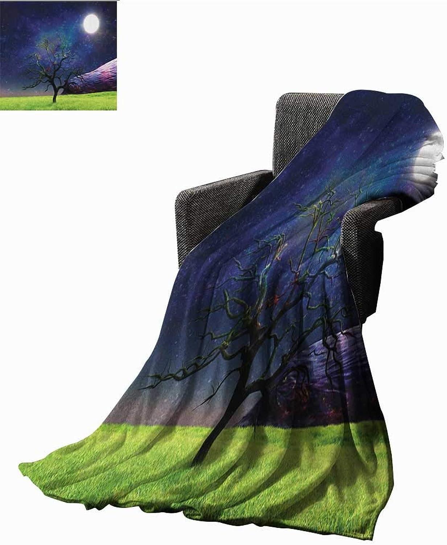 WilliamsDecor Bed or Couch 60  x 35 Tree Lightweight Blanket Moon Illuminates A Tree Full Moon Galaxy Grass Creative Fantasy Illustration Print Print Summer Quilt Comforter Green Navy