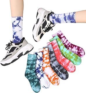 Suszian, Suszian 7 Pares de Calcetines de Skate de algodón Harajuku Tie Dye Calcetines de Skate Transpirables de Baloncesto Calcetines de Hip Hop Calcetines Largos Unisex